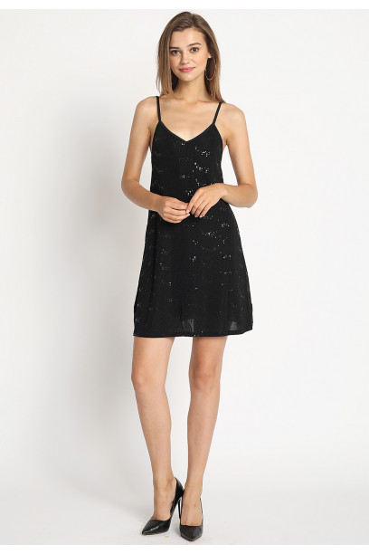 SEQUINED KNIT DRESS