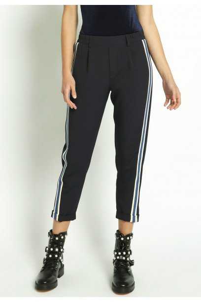 CUFFED PANTS WITH SIDE TAPE