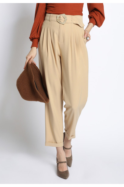 BELTED FRONT PLEAT PANTS