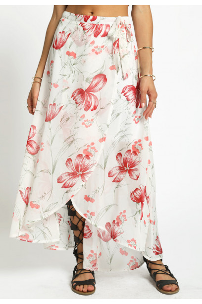 FLORAL WOVEN WRAP SKIRT