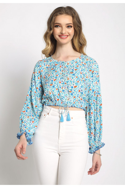BUTTON DOWN FLORAL CROP TOP