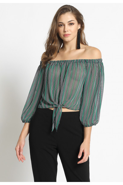 CHIFFON TIE FRONT OFF SHOULDER TOP