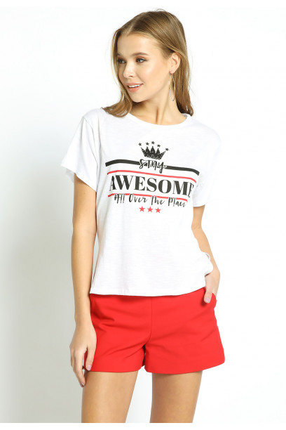 STAY AWESOME SLOGAN TEE